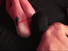 Blonde dominatrix uses a guy's face as a butt plug