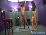 Femdom ball buster having a great time with a worthless man