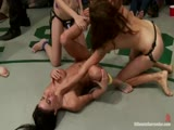 MMA free fight from a group of tough girls inside the octagon