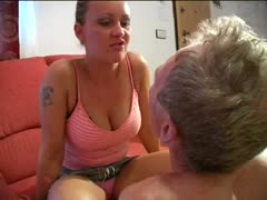 Mistress Amber tormenting a helpless old slave