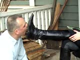 Submissive husband as cruel wife's boot slave