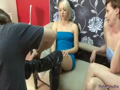 Obedient husband pleasuring his hot wife with ball busting