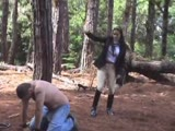 Pervert man caught and punished in the woods