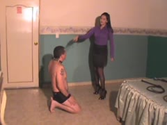 Private whipping session in a closed room
