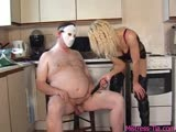 Electric punishment executed by a blonde cruel mistress