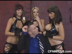 Lucky guy dominated with three hot femdoms