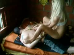 Delinquent girlfriend humiliating her submissive lover