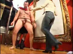 Distressing punishment in ball busting to bad slave