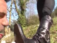 Muddy boots cleaned by a dirty pathetic slave