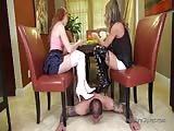 Serving mistress as ther foot stool