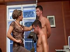 Threesome office domination by a sophisticated mistress