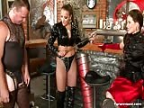 Three mistress joining force in harsh and brutal punishment