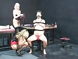 Helpless man bound and punished