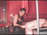 Slave roughly dominated with busty mistress strapon