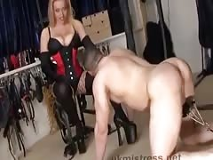 Mistress Alexandra playing with her slave