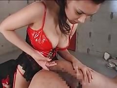 Pretty Asian mistress streamy strapon domination
