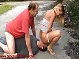 Two futile man humiliated outside in ass worshiping