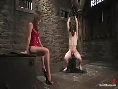 BDSM experienced babe dominating in the dungeon