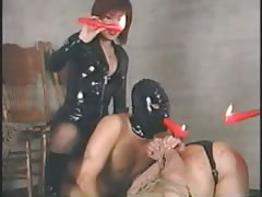 Asian mistress with BDSM male slaves