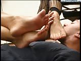 Foot goddess feet are pleased by slave