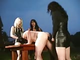 Three strapon bitches bring victim outdoor and fucked his ass