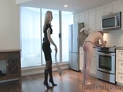 New sex slave trained by his blonde mistress