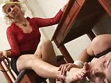 Blonde mature domme feet cleaned by slaves tongue