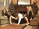 Twin foot domina with one foot worshiper