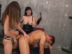 Disciplining slave in strapon anal fucked