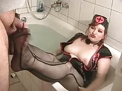 BBW mistress foot job in the bath tub