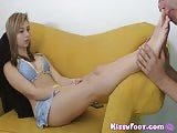 Beautiful teen with nice feet worship by a middle age man