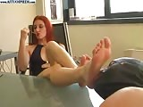 Red head dominatrix feet worship