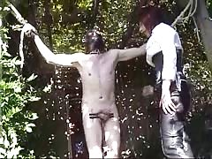 Ballbusting torture in the middle of the forest