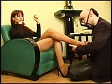 Red head Lady Ramirez tired feet pampered by slave