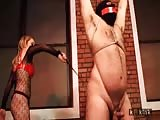 Tied naked slave completely punished in whipping and ball busting