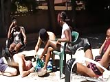 Black girls with dirty feet clean by slave
