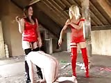 Naked slave tormented in the barn