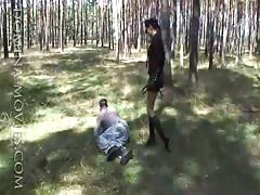 Bad captive punished in the woods