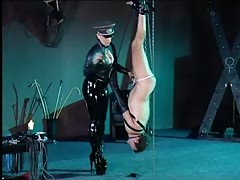 Leashed hanging slave tortured