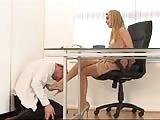Weak man in the office worshiping his mistress feet
