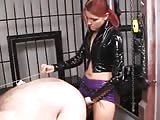 Red head domme pegging fat slaves butt hole
