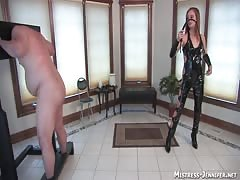 Abused and pegged by brutal domina