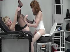 Naughty old couple strapon session