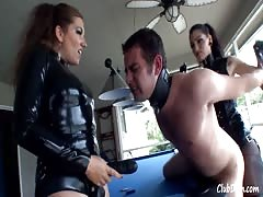 Merciless strapon pegging from two mistresses