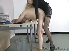Pegging session from a blonde mistress