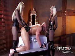 Two strapon hottie pegging in rough way