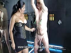 Callous Mistress Tatjana gets rough with slave today