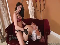 Strapon goes deep on her slaves tight ass