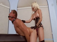 Slave screaming for his ass drilled with mistress strapon