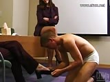 Foot and heels worshiping in the office